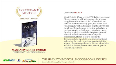 Manan gets Honourable Mention at The Hindu Young World GoodBooks Awards