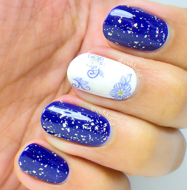 Blue and Silver Leaf Floral Nails
