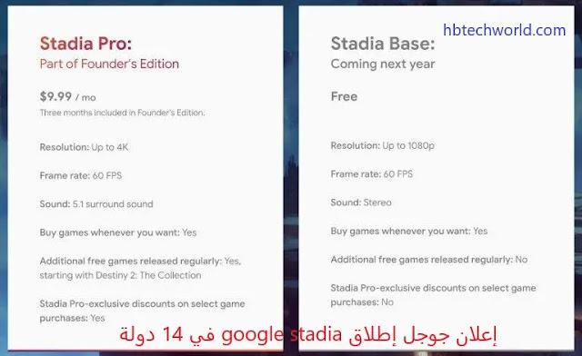 إعلان جوجل إطلاق google stadia في 14 دولة