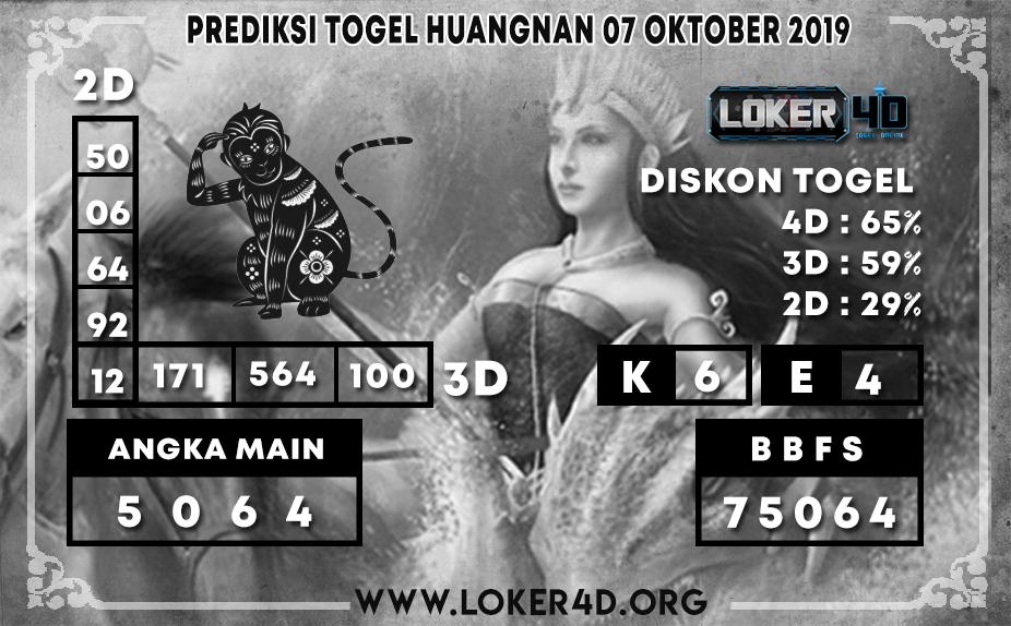 PREDIKSI TOGEL HUANGNAN LOKER4D 07 OKTOBER 2019