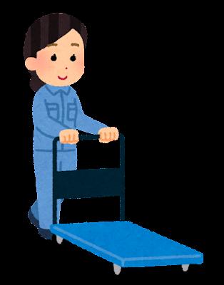 台車を押す人のイラスト(女性作業員・荷物なし)