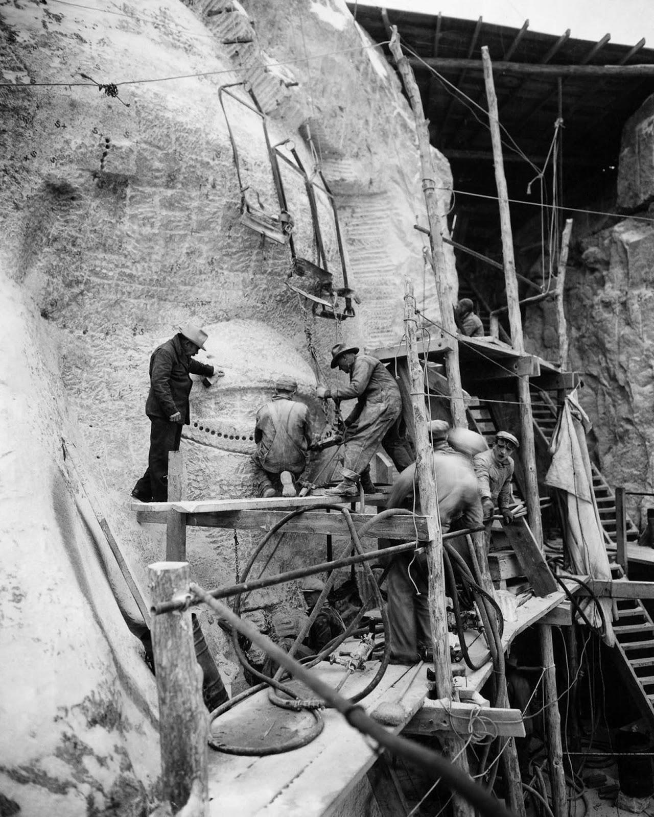 Sculptors work on Thomas Jefferson's eye. 1936.