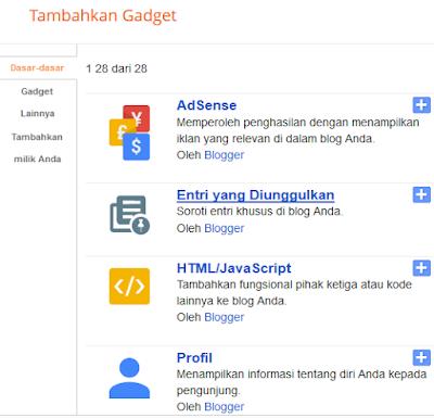 pilihan gadget dari blogspot
