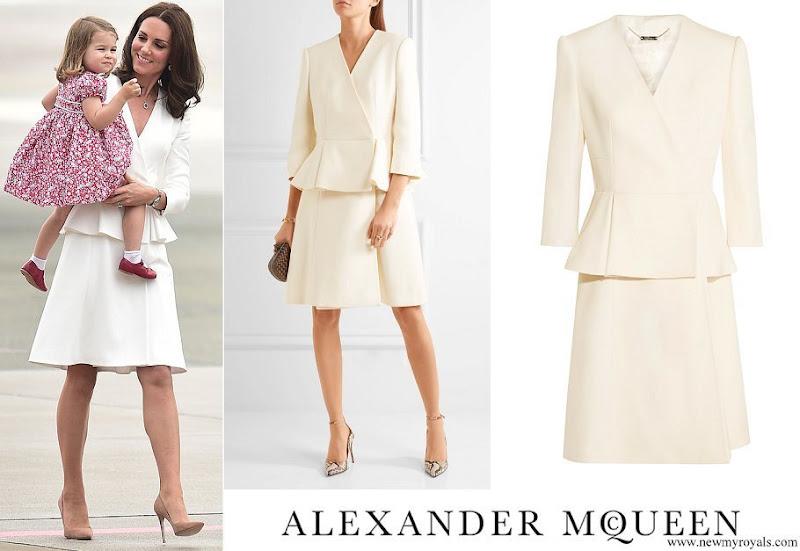 Kate Middleton wore an peplum dress coat from Alexander McQueen