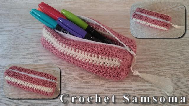 كروشيه مقلمة . سلسلة العودة للمدرسة . طريقة كروشيه حافظة أقلام . كروشيه مقلمة للاقلام . Back To School Crochet Pencil Case Tutorial . crochet estuche.    .Back to School  Crochet