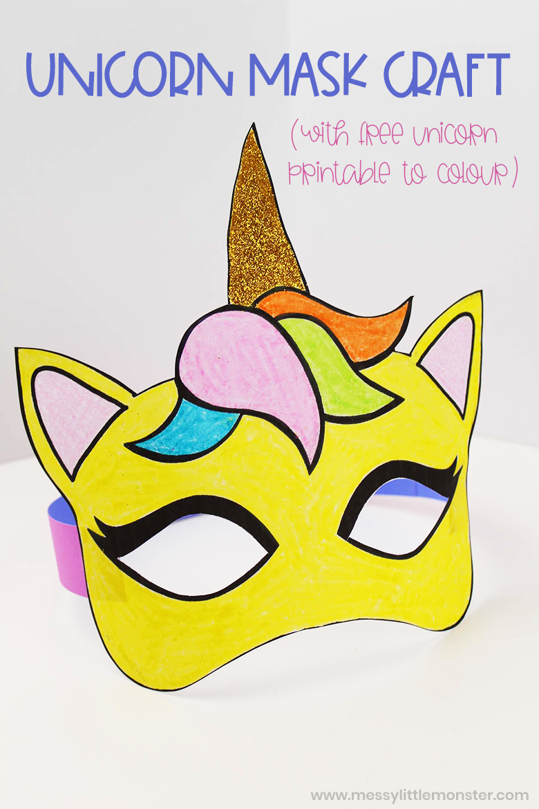Unicorn crafts. Colour your own unicorn printable to make an adorable unicorn mask craft.