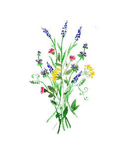 watercolour painting of wildflowers bouquet
