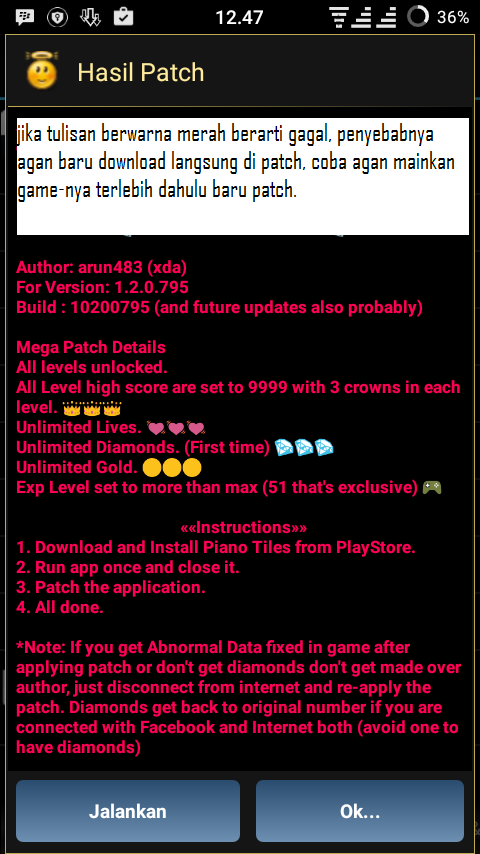 Cara Cheat Game Piano Tiles 2 Android (ROOT) - CarCir