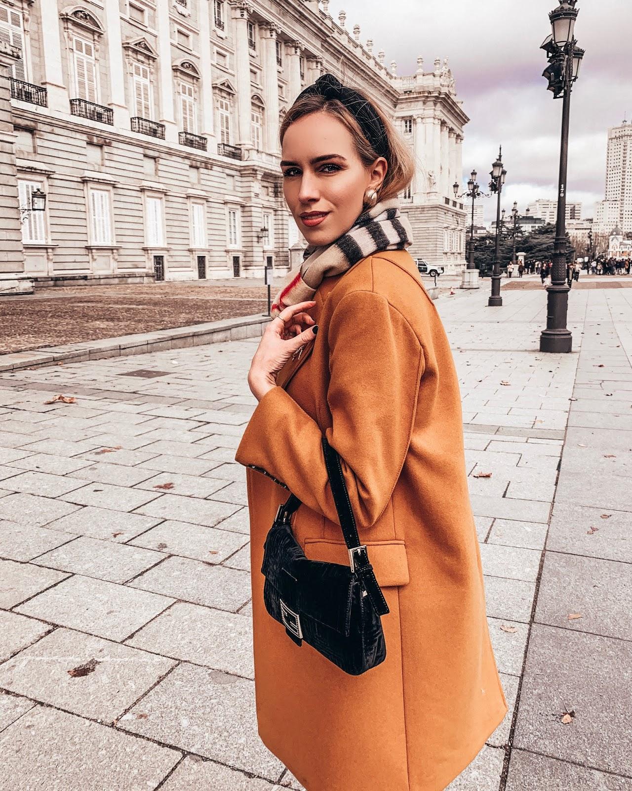 headband burberry scarf fendi velvet baguette bag spring outfit