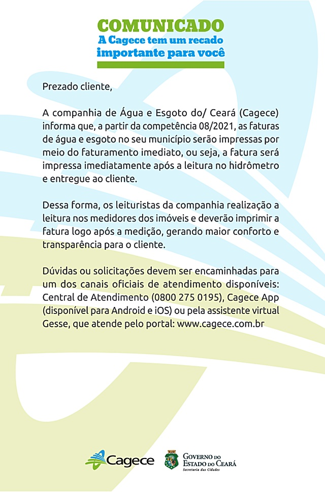 Comunicado da Cagece sobre a emissão das próximas faturas de água e esgoto em Cariré-CE