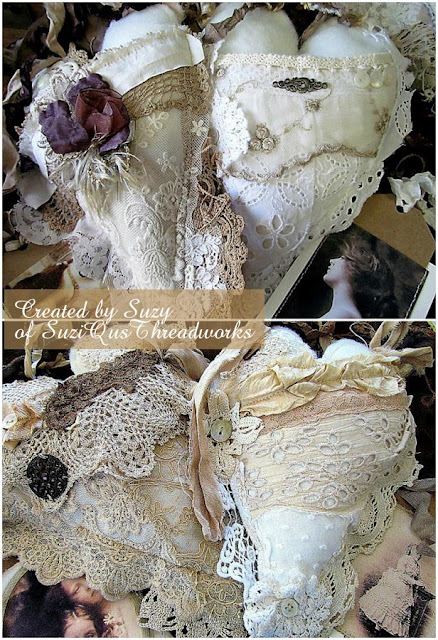 fabric and lace hearts by SuziQusTreadworks