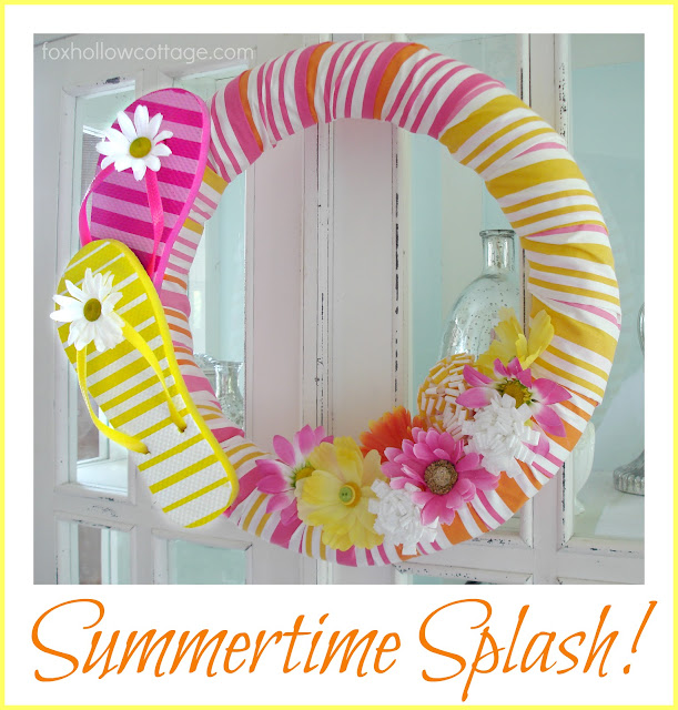 Flip Flop Summer Pool Noodle Wreath Tutorial Fox Hollow