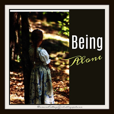 Being alone | image of a little girl in a long dress and braided hair alone in the woods  RosevineCottagegirls.com