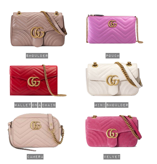 Popular Colours and Designs of the Gucci Marmont Matelasse Chevron Quilted Bag