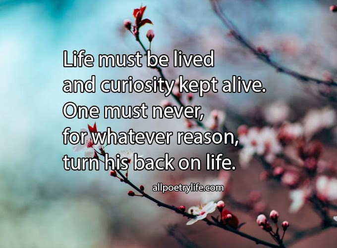Life must be lived | English poetry on life poems sad quotes