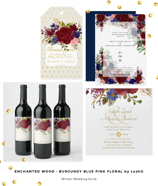 burgundy navy blue roses floral wedding invitations