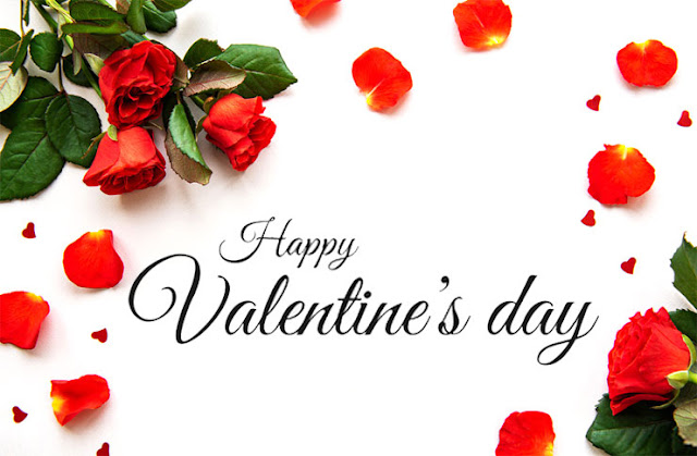 Valentine's Day red roses and petals Image