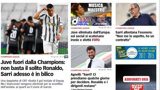 Juventus bị loại: Báo Ý khen Ronaldo là siêu nhân, đoán 2 HLV thay Sarri 3