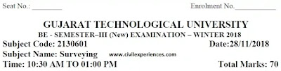 BE Exam Papers Download WINTER 2018 | Surveying GTU Exam Papers 2130601 PDF 2018 | 2130601 GTU Paper PDF Download BE Civil