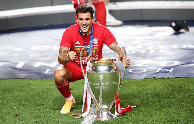 كوتينيو مع كأس دورى أبطال أوروبا 2020