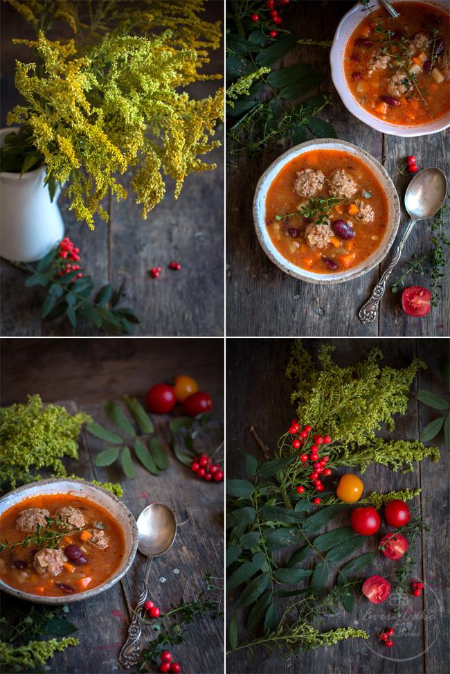 Zupa z klopsikami wołowymi, pomidorami i fasolą