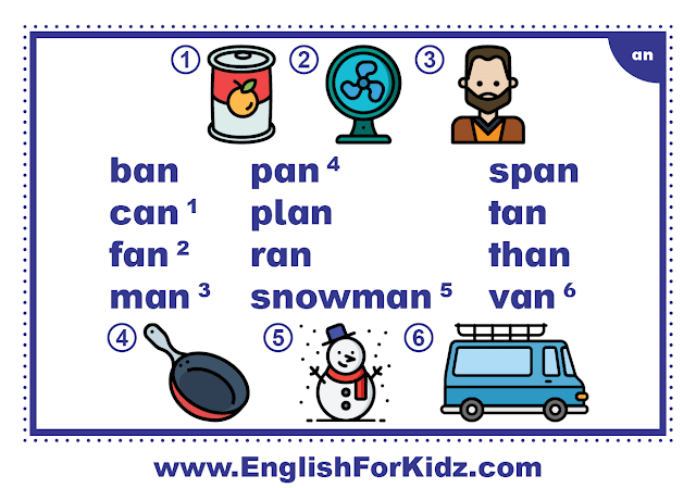 an family words - printable flashcard with pictures