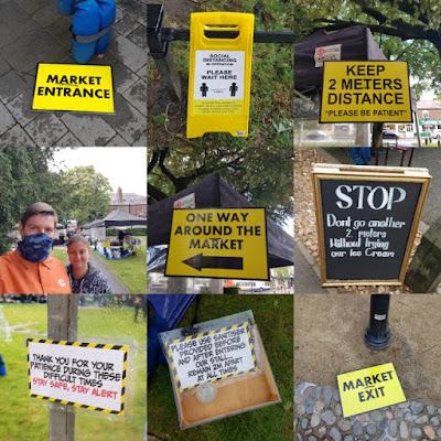 Social distancing signs at Cheadle Makers Market