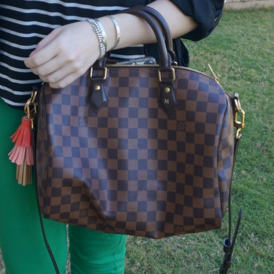 Louis Vuitton Damier Ebene 30 speedy bandouliere with striped tank and green skinny jeans | awayfromtheblue