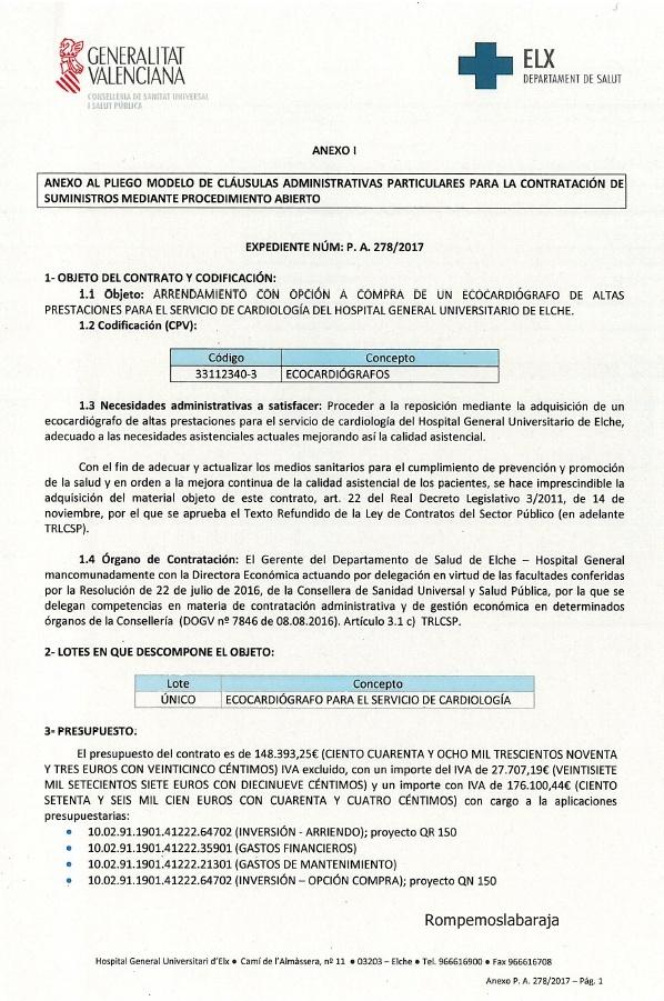 EL H. GENERAL UNIVERSITARIO DE ELCHE ARRIENDA ( ALQUILA ...