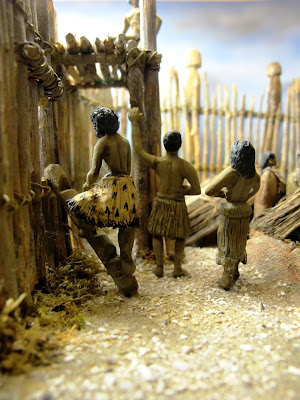 Diorama showing residents at Turuturu Mokai pa.