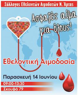 14 Ιουνίου, Παγκόσμια Ημέρα Εθελοντή Αιμοδότη: Στην Άρτα τη γιορτάζουμε προσφέροντας δώρο ζωής