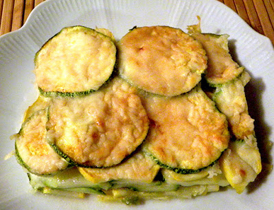 Top view of Scalloped Summer Squash Casserole