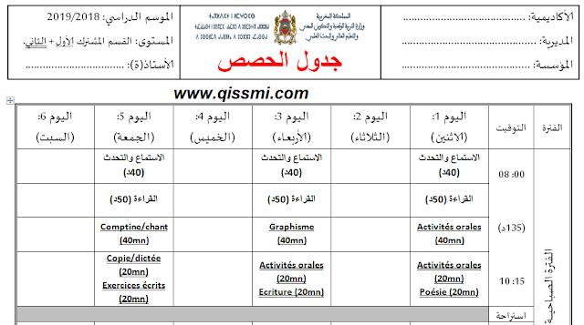 جدول الحصص للقسم المشترك الأول و الثاني