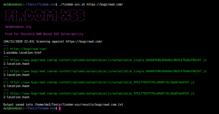 FinDOM-XSS : A Fast DOM Based XSS Vulnerability Scanner With Simplicity