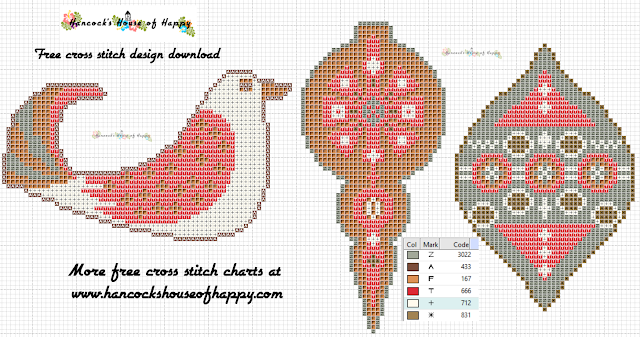 Free Cross Stitch Christmas Decoration Pattern. Three Free Mid-Century Modern Rustic Style Cross Stitch Christmas Tree Ornaments.