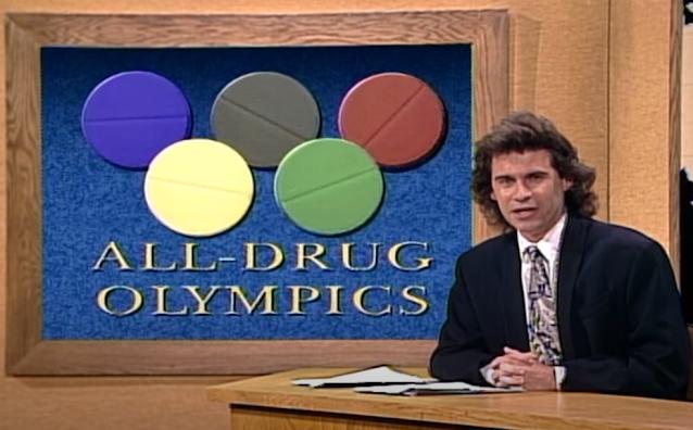 Dennis Miller introduces the All-Drug Olympics SNL 10/8/1988