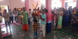 अयोध्या में रामलला के भव्य मंदिर निर्माण मैं साक्षी बनते हुए श्री राम मंदिर में आरती उतारकर किए धार्मिक आयोजन