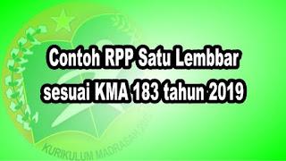 Contoh RPP Satu Lembbar sesuai KMA 183 tahun 2019