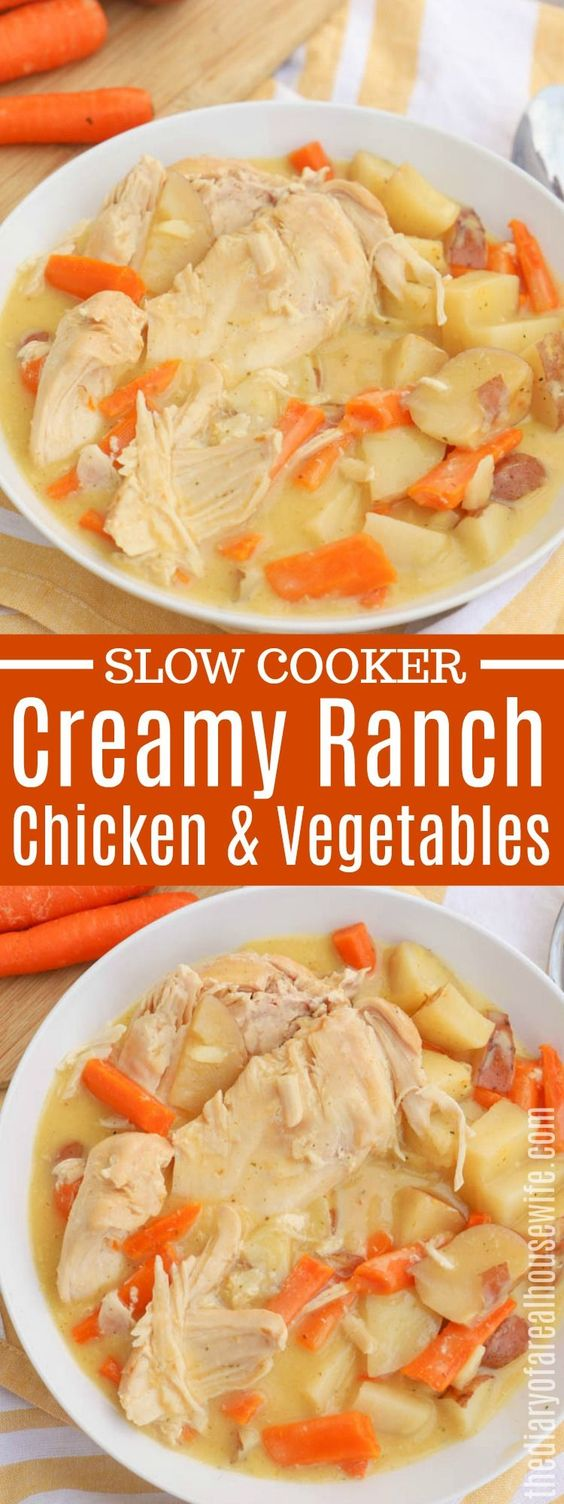 Slow Cooker Creamy Ranch Chicken and Vegetables