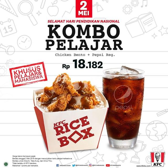 #KFC - #Promo Hari Pendidikan Nasional Dapatkan Kombo Pelajar Hanya 18Ribuan (02 Mei 2019)