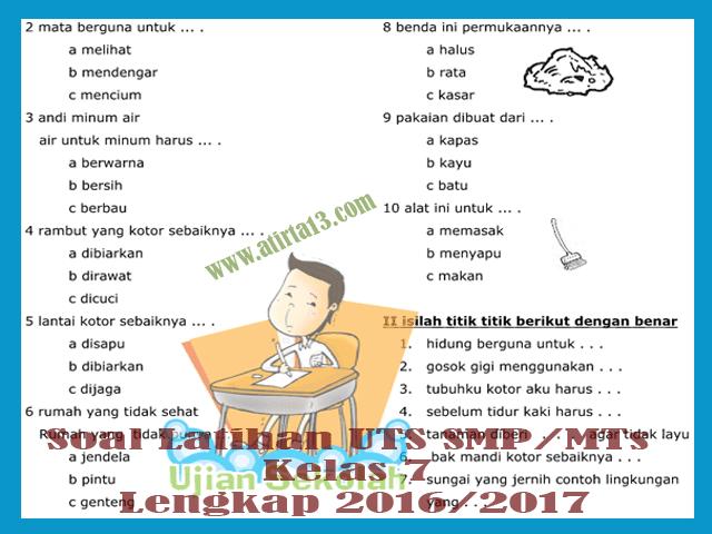 Kumpulan Soal Latihan UTS SMP/MTs Kelas 7 Lengkap 2016/2017