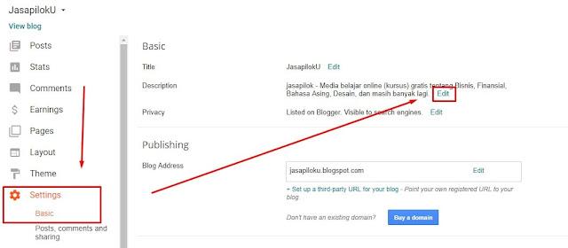 Konfigurasi Deskripsi Blog