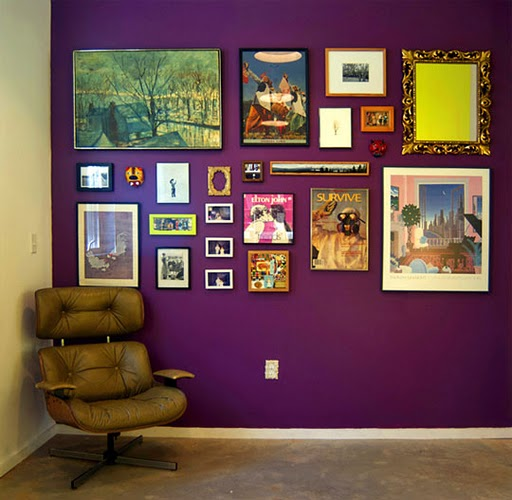 Modern Home Decor Bright Purple Wall Art Boho By: New Home Design Ideas: 10 Interesting Ways To Display Art