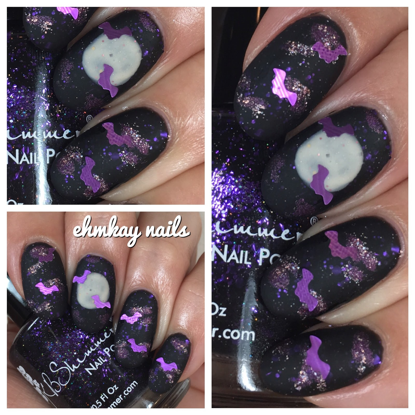 ehmkay nails: Halloween Nail Art: Bats and Full Moon Art with ...