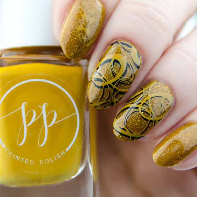 "Painted Polish ""Stamped in Mustard"" stamping swatch"