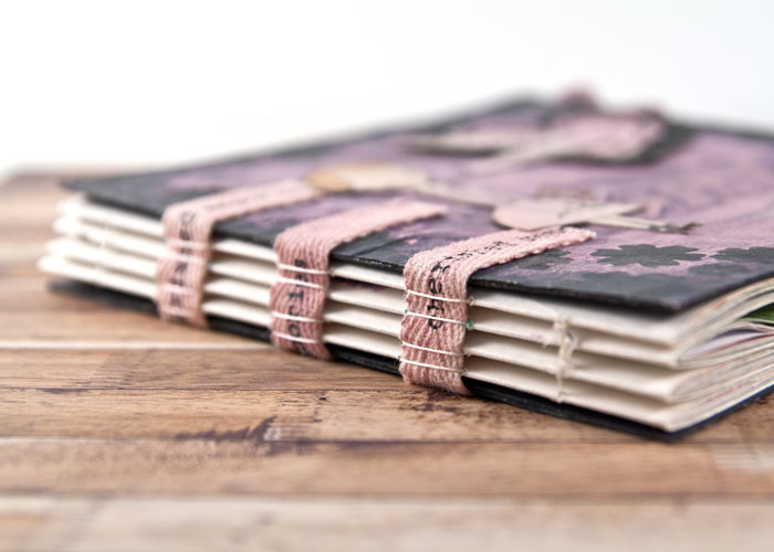The binding for the Patterned Paper Sketchbook by Kim Dellow