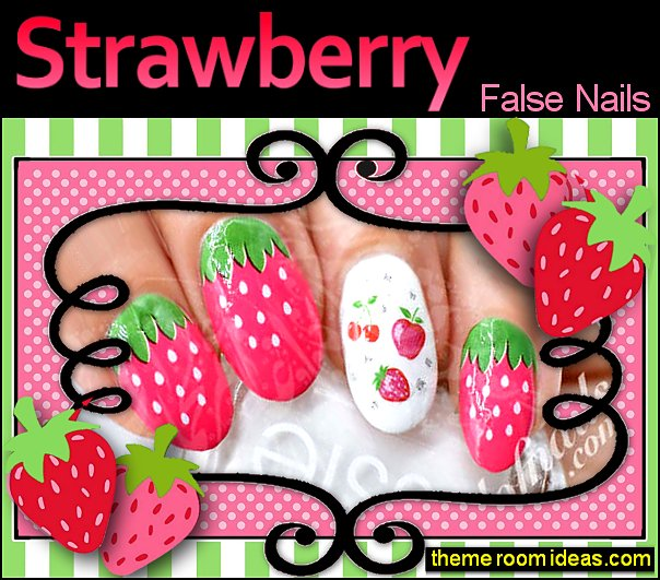 Strawberry Nail Art Nail Water Decals Wraps Strawberry nails Strawberry nail decorations Strawberry nail art