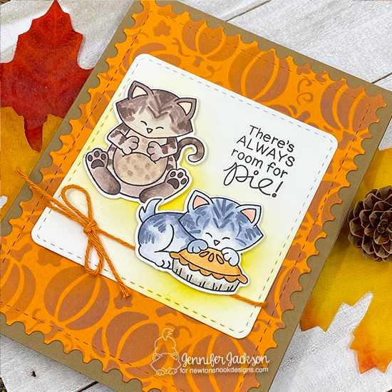 Thanksgiving Card by Jennifer Jackson | Newton's Thanksgiving Stamp Set and Pumpkin Patch Stencil by Newton's Nook Designs #newtonsnook