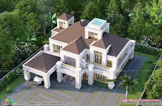 5 bedroom luxury Colonial house top view rendering