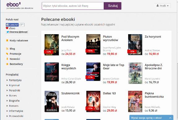Strona głowna porównywarki cen e-booków eboo
